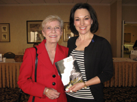 "Michele presents her book ""Child of the Universe"" to Actor/Author; Patty Duke, also an adult survivor of abuse."